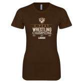 Next Level Ladies SoftStyle Junior Fitted Dark Chocolate Tee-2020 Wrestling Champs