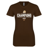 Next Level Ladies SoftStyle Junior Fitted Dark Chocolate Tee-2017 Patriot League Football Champions