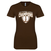 Next Level Ladies SoftStyle Junior Fitted Dark Chocolate Tee-2017 Patriot League Football Champions 2