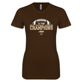 Next Level Ladies SoftStyle Junior Fitted Dark Chocolate Tee-2017 Patriot League Football Champions 4