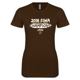 Next Level Ladies SoftStyle Junior Fitted Dark Chocolate Tee-2018 EIWA Wrestling Champions