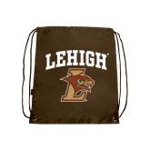 Nylon Brown Drawstring Backpack-Official Logo