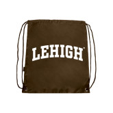 Nylon Brown Drawstring Backpack-Arched Lehigh