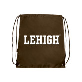 Nylon Brown Drawstring Backpack-Flat Lehigh
