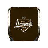 Nylon Brown Drawstring Backpack-2017 Patriot League Softball Champions