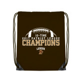 Brown Drawstring Backpack-2017 Patriot League Football Champions 4