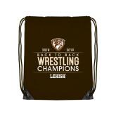 Brown Drawstring Backpack-Back to Back EIWA Wrestling Champions