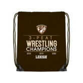 Brown Drawstring Backpack-2020 Wrestling Champs