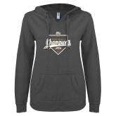 ENZA Ladies Dark Heather V Notch Raw Edge Fleece Hoodie-2017 Patriot League Softball Champions