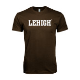 Next Level SoftStyle Brown T Shirt-Flat Lehigh
