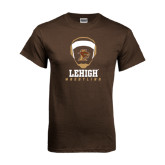Brown T Shirt-Lehigh Wrestling Stacked w/Headgear