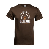 Brown T Shirt-Lehigh Basketball Stacked w/Ball