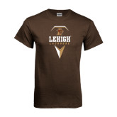 Brown T Shirt-Lehigh Lacrosse Stacked w/Stick Head