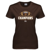 Ladies Brown T Shirt-11-Time Patriot League Champions Football 2016