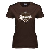 Ladies Brown T Shirt-2017 Patriot League Softball Champions