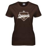 Ladies Brown T Shirt-2017 Patriot League Softball Champions