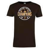 Ladies Brown T Shirt-2019 Mens Soccer Champions