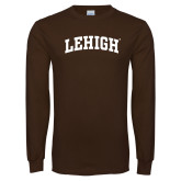 Brown Long Sleeve TShirt-Arched Lehigh