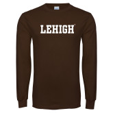 Brown Long Sleeve TShirt-Flat Lehigh