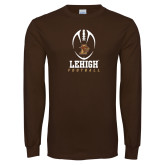 Brown Long Sleeve TShirt-Lehigh Football Stacked w/Ball