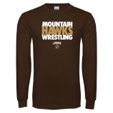 Brown Long Sleeve TShirt-Mountain Hawks Wrestling