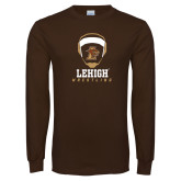 Brown Long Sleeve TShirt-Lehigh Wrestling Stacked w/Headgear