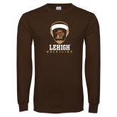 Brown Long Sleeve TShirt-Lehigh Wrestling Stacked w/Headgear