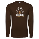 Brown Long Sleeve TShirt-Lehigh Basketball Stacked w/Ball