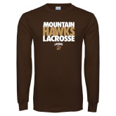 Brown Long Sleeve TShirt-Mountain Hawks Lacrosse