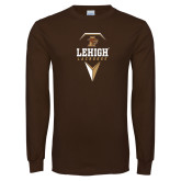 Brown Long Sleeve TShirt-Lehigh Lacrosse Stacked w/Stick Head