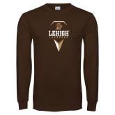 Brown Long Sleeve TShirt-Lehigh Lacrosse Stacked w/Stick Head