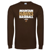 Brown Long Sleeve TShirt-Mountain Hawks Baseball
