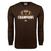 Brown Long Sleeve TShirt-11-Time Patriot League Champions Football 2016