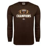 Brown Long Sleeve TShirt-11-Time Patriot League Champions Football 2016