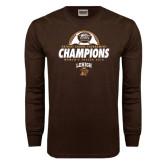 Brown Long Sleeve TShirt-Patriot League Champions Womens Soccer 2016