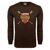 Brown Long Sleeve TShirt-2016 Softball Champions