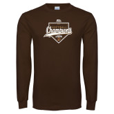 Brown Long Sleeve T Shirt-2017 Patriot League Softball Champions