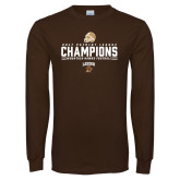 Brown Long Sleeve T Shirt-2017 Patriot League Football Champions