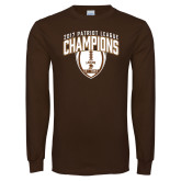 Brown Long Sleeve T Shirt-2017 Patriot League Football Champions 2