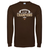Brown Long Sleeve T Shirt-2017 Patriot League Football Champions 4