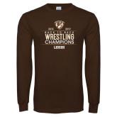Brown Long Sleeve T Shirt-Back to Back EIWA Wrestling Champions