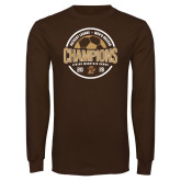 Brown Long Sleeve T Shirt-2019 Mens Soccer Champions