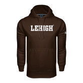Under Armour Brown Performance Sweats Team Hoodie-Flat Lehigh