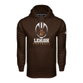 Under Armour Brown Performance Sweats Team Hoodie-Lehigh Football Stacked w/Ball