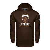 Under Armour Brown Performance Sweats Team Hoodie-Lehigh Wrestling Stacked w/Headgear