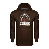 Under Armour Brown Performance Sweats Team Hoodie-Lehigh Basketball Stacked w/Ball