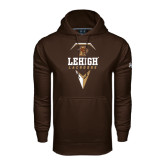 Under Armour Brown Performance Sweats Team Hoodie-Lehigh Lacrosse Stacked w/Stick Head
