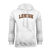 White Fleece Hoodie-Arched Lehigh