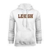 White Fleece Hoodie-Flat Lehigh
