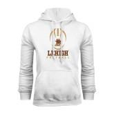 White Fleece Hoodie-Lehigh Football Stacked w/Ball